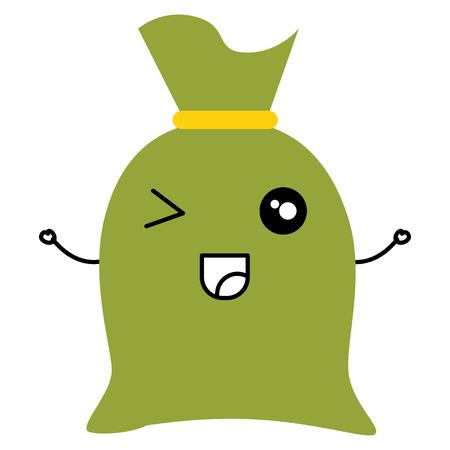 Fabric sack  character vector illustration design