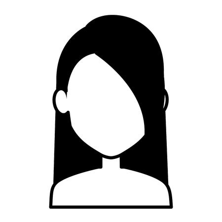 Jonge vrouw shirtless avatar karakter vector illustratie ontwerp Stock Illustratie