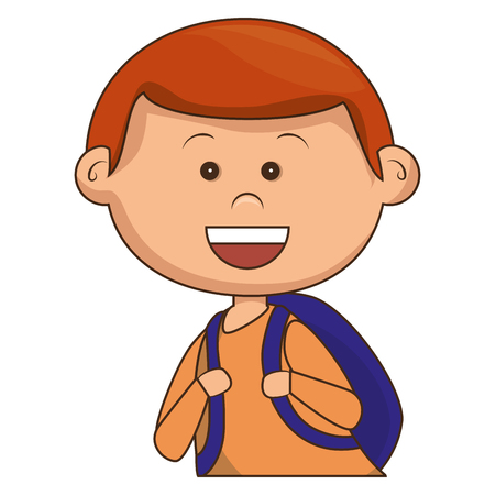 schoolkids: cute little boy with bag school character vector illustration design