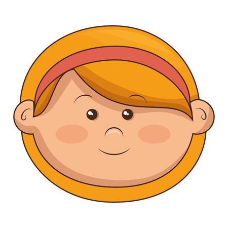 Niedlichen kleinen Mädchen Kopf Zeichen Vektor Illustration Design Standard-Bild - 80814955