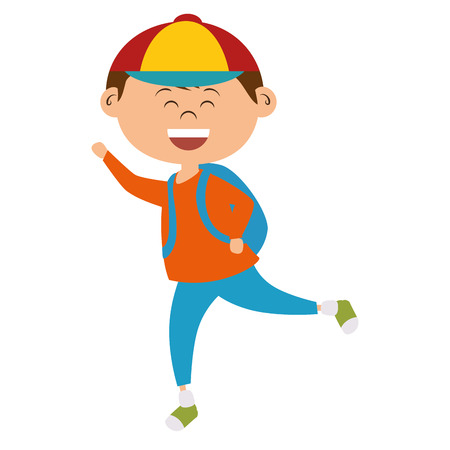 cute little boy with bag school character vector illustration design