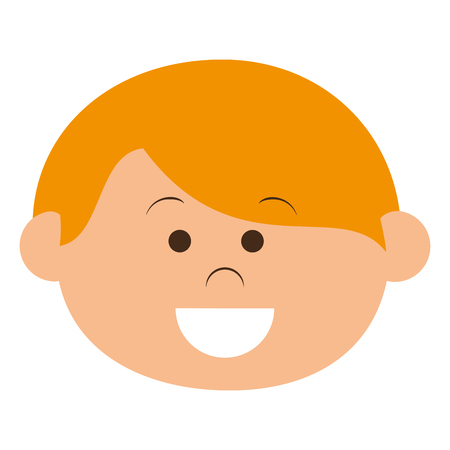 schoolkids: cute little boy head character vector illustration design