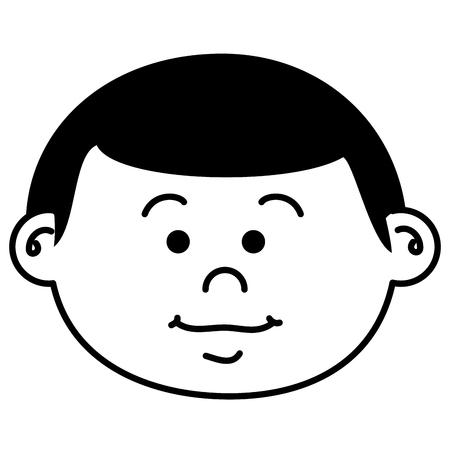 cute little boy head character vector illustration design