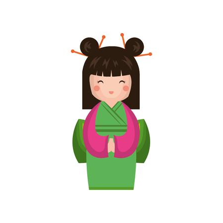 cute Little japanese doll vector illustration design
