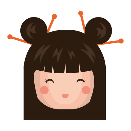 cute Little japanese doll head vector illustration design