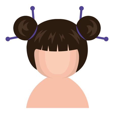 cute Little shirtless japanese doll vector illustration design Çizim