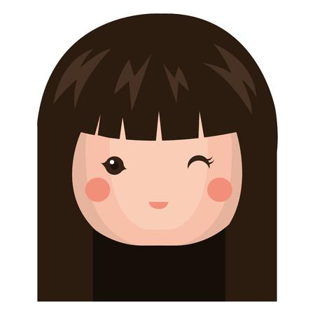 日本の人形のかわいい頭ベクトル イラスト デザイン