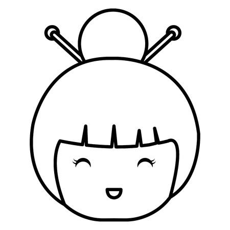 cute Little japanese doll head vector illustration design Reklamní fotografie - 80835587