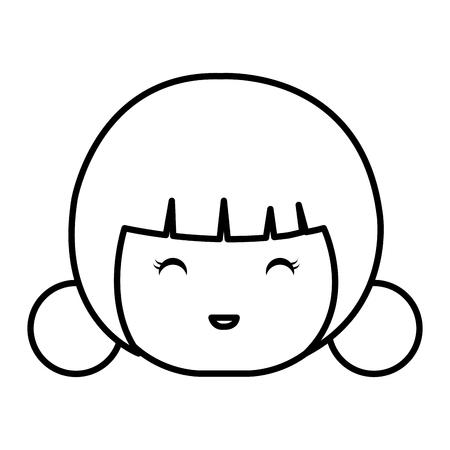 cute Little japanese doll head vector illustration design Reklamní fotografie - 80835591