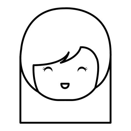 cute Little japanese doll head vector illustration design
