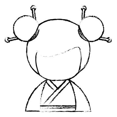 cute Little japanese doll vector illustration design Reklamní fotografie - 80835603