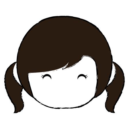 cute Little japanese doll head vector illustration design Reklamní fotografie - 80841840
