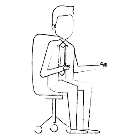 elegant businessman Sitting on office chair avatar character vector illustration design 向量圖像