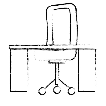 desk and chair office place vector illustration design