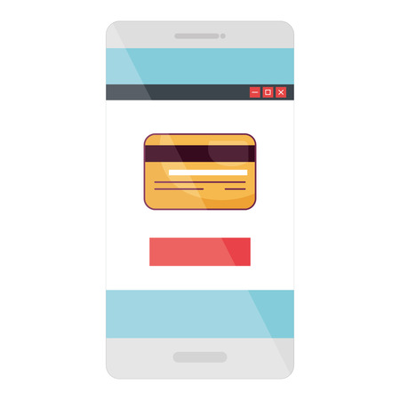 commerce: smartphone device with ecommerce app isolated icon vector illustration design Illustration