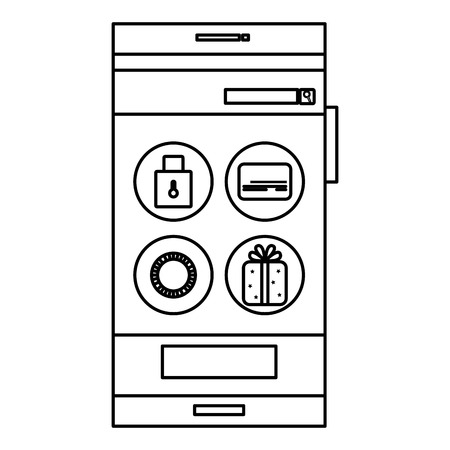 touchpad: smartphone device with ecommerce app isolated icon vector illustration design Illustration