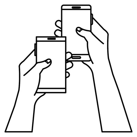 touchpad: hands human with smartphones device isolated icon vector illustration design Illustration