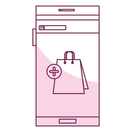 smartphone device with ecommerce app isolated icon vector illustration design Illustration