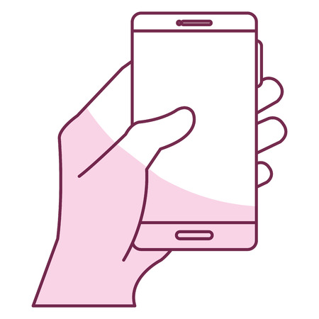 touchpad: hand human with smartphone device isolated icon vector illustration design