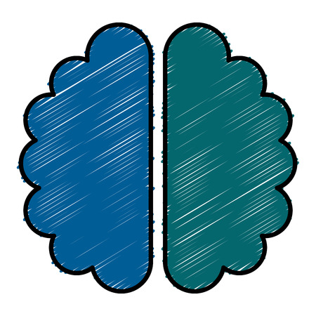 brain halves flat icon vector illustration design graphic Stock Vector - 80837485