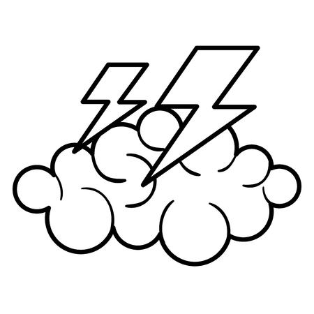 구름 천둥 날씨 아이콘 벡터 일러스트 디자인 그래픽