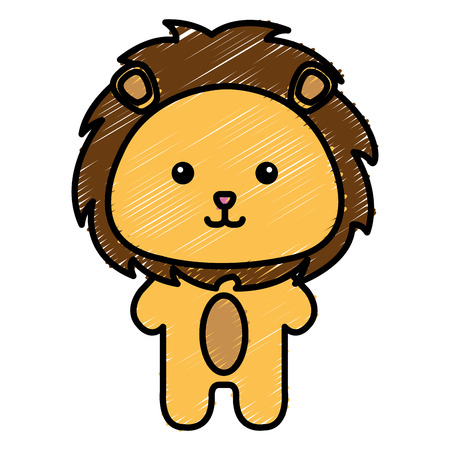 Stuffed animal lion icon vector illustration design doodle