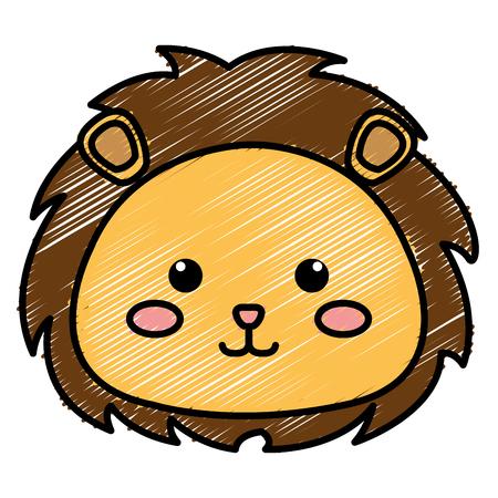ライオンのぬいぐるみの動物アイコン ベクトル イラスト デザイン落書き