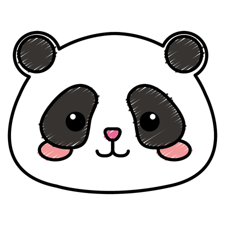 Peluche animal panda icône vector illustration design doodle Banque d'images - 80839159