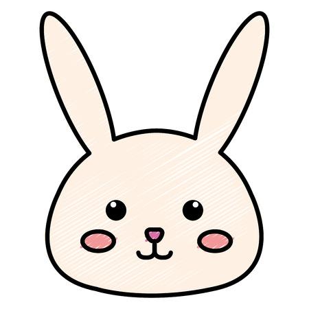 Stuffed animal rabbit icon vector illustration design doodle Ilustração