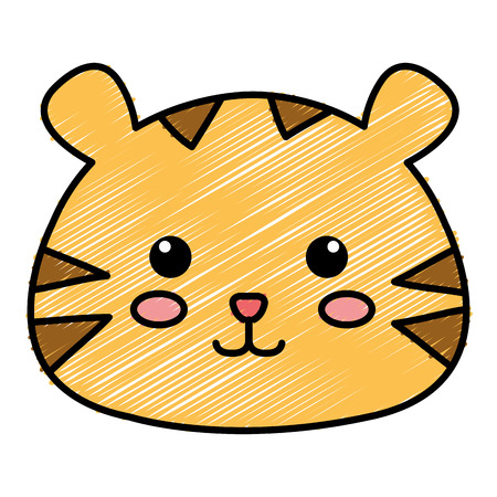 Stuffed animal tiger icon vector illustration design doodle 向量圖像