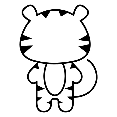 baby playing toy: Stuffed animal tiger icon vector illustration design draw