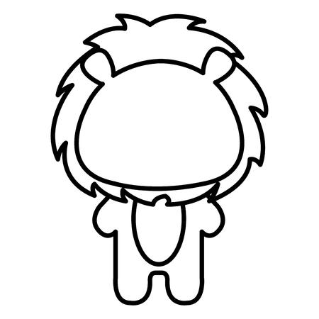 Het gevulde dierlijke ontwerp van de het pictogram vectorillustratie van de leeuw trekt
