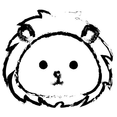 박제 동물 사자 아이콘 벡터 일러스트 디자인 무승부