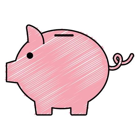 savings account: Piggy bank money icon vector illustration design doodle
