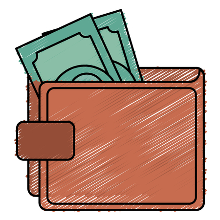 savings account: Wallet save documents icon vector illustration design doodle