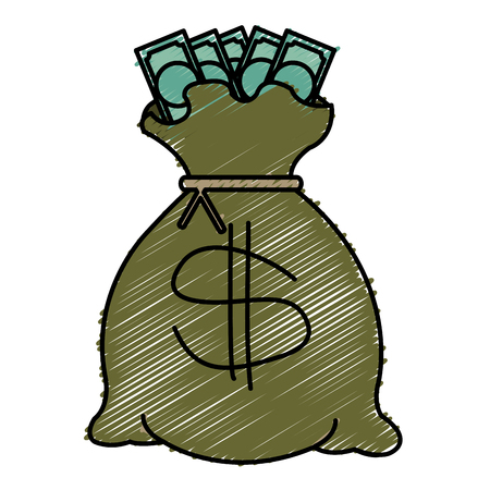 Bank money bag icon vector illustration design doodle