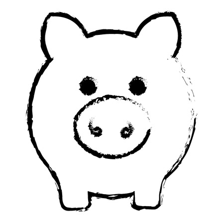 Piggy bank money icon vector illustration design draw