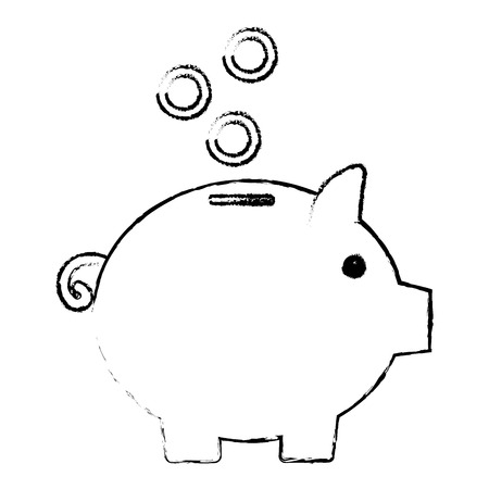 Piggy bank money icon vector illustration design draw