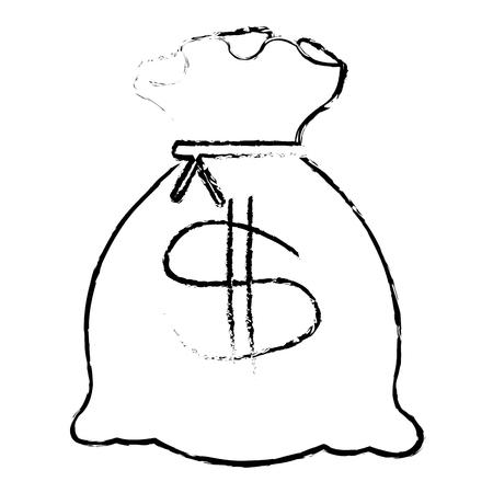 Bank money bag icon vector illustration design draw