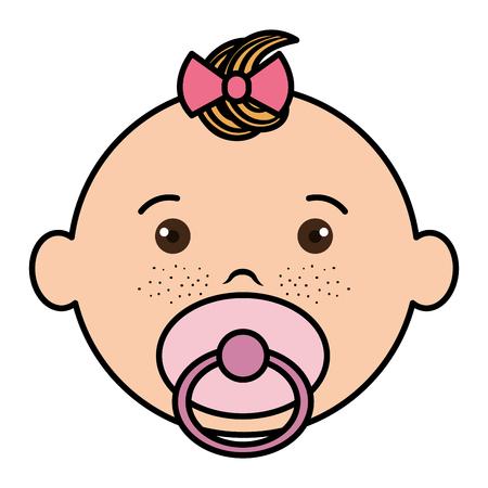 Vlakke van de het pictogram vectorillustratie van het babygezicht gelukkige ontwerp