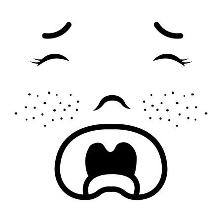 Baby face crying icon vector illustration design draw Иллюстрация
