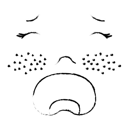 Baby face crying icon vector illustration design draw Ilustrace