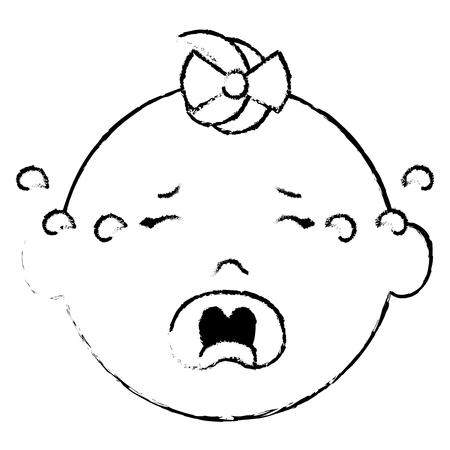 Baby face crying icon vector illustration design draw Illustration