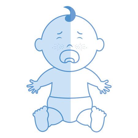 Baby clothes crying icon vector illustration design shadow Ilustração