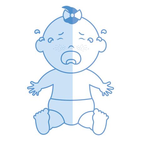 아기 옷 울음 아이콘 벡터 일러스트 디자인 그림자 일러스트