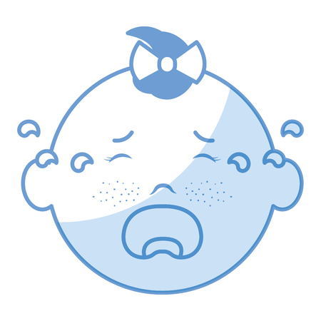 Baby face crying icon vector illustration design shadow