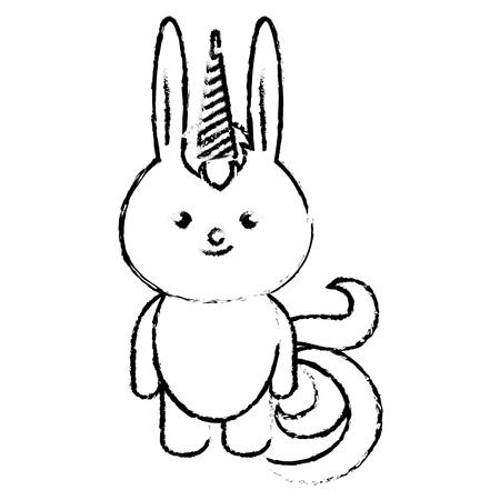 박제 동물 토끼 아이콘 벡터 일러스트 디자인 무승부