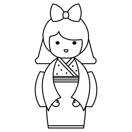 cute Little japanese doll vector illustration design