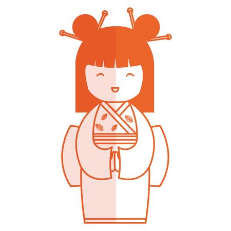 귀여운 작은 일본 인형 벡터 일러스트 디자인 일러스트
