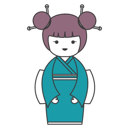 かわいい小さな日本の人形のベクトル イラスト デザイン  イラスト・ベクター素材